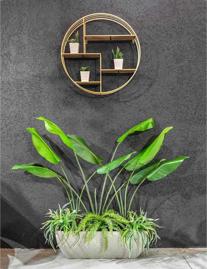 אדנית עם צמחיה טרופית מלאכותיים | גרדן מרקט - צמחיה מלאכותית איכותית